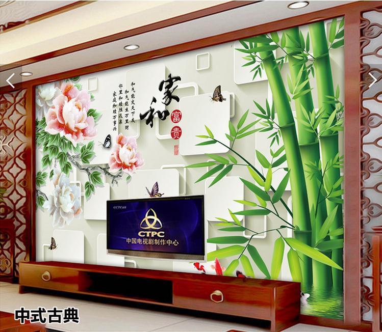 客厅背景墙 3D立体竹电视背景墙