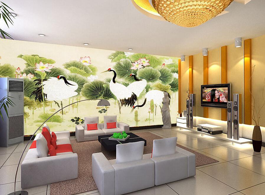 客厅背景墙 白鹭荷花中国风装饰画背景墙