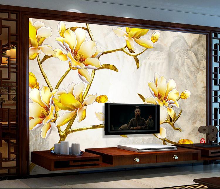 客厅背景墙 彩雕金枝玉兰花中国风电视背景墙