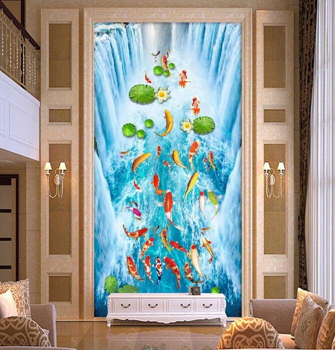 玄关背景墙、3D玄关背景墙壁画鱼趣图