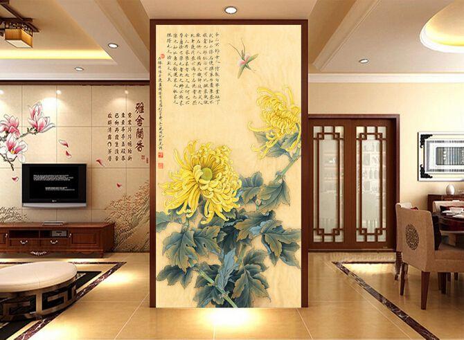 玄关背景墙、古典梅兰竹菊中国风水墨画玄关