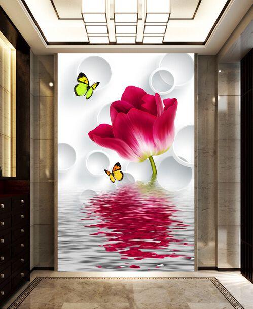 过道玄关、红色花朵门厅玄关过道背景墙壁画