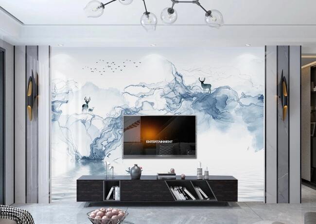一号墙电视背景墙现代轻奢爵士白大理石纹大板电视背景墙(96)