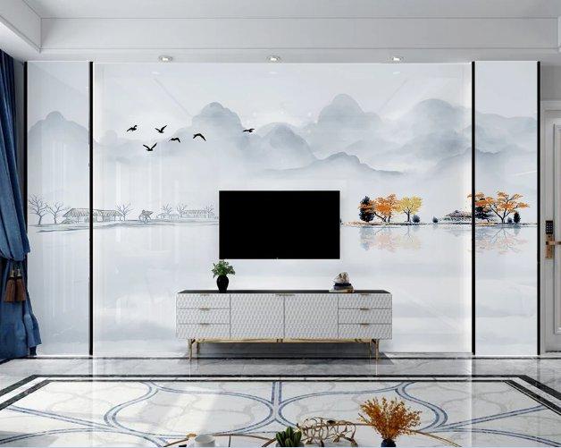 一号墙电视背景墙 新中式水墨山水蓝色意境电视背景墙(98)