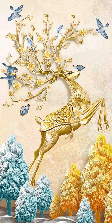 新中式现代简约发财鹿玄关装饰