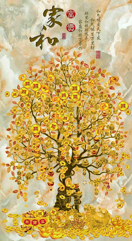 新中式现代简约发财树关装饰