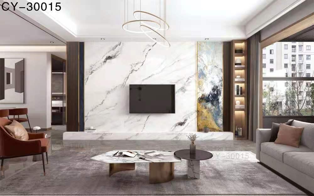 一号墙新品彩雕石材电视背景墙精品后现代YHQ-30015