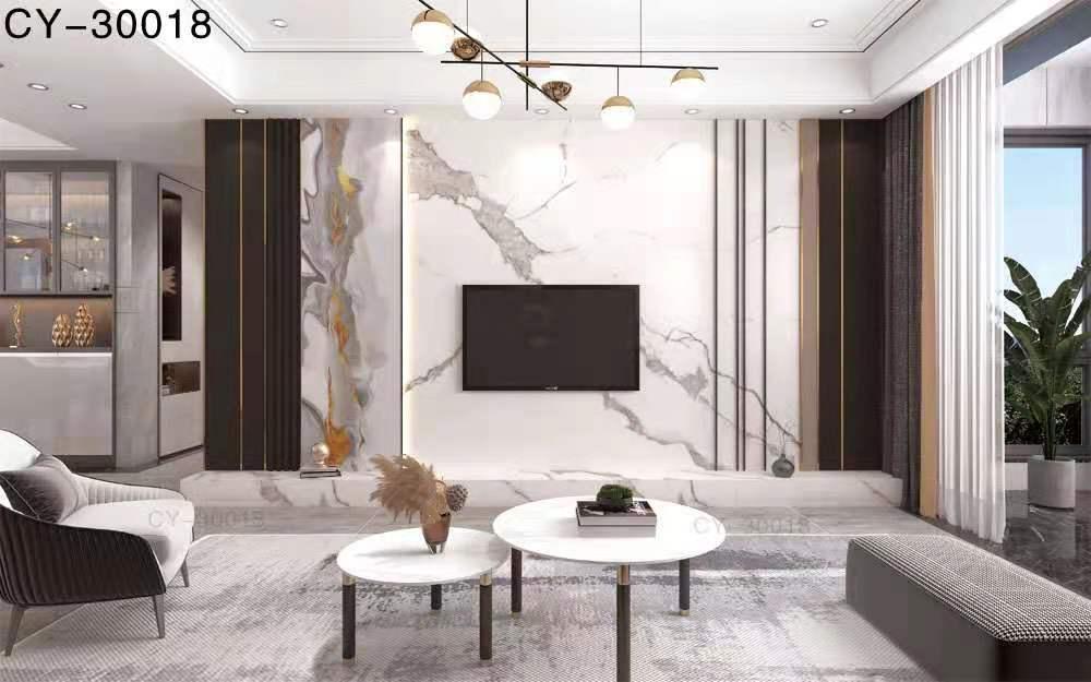 一号墙新品彩雕石材电视背景墙精品后现代YHQ-30018
