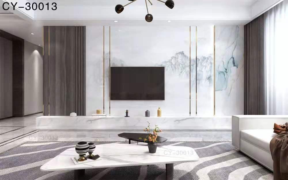 一号墙新品彩雕石材电视背景墙精品后现代YHQ-30013