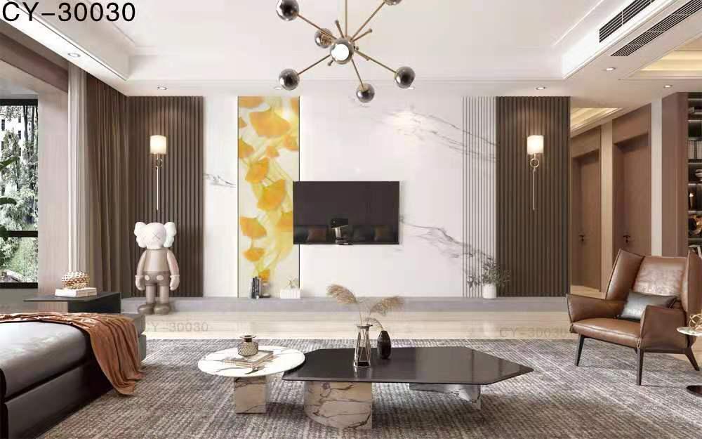 一号墙新品彩雕石材电视背景墙精品后现代YHQ-30030
