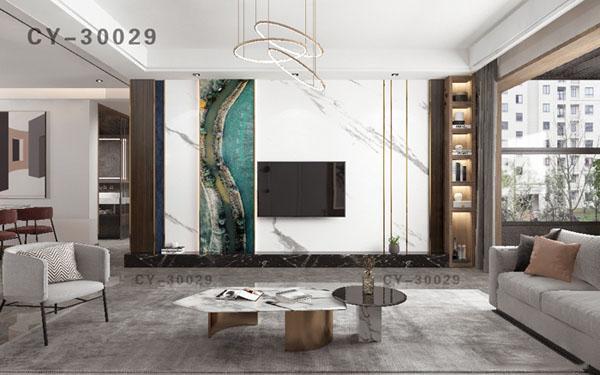 一号墙新品彩雕石材电视背景墙精品后现代YHQ-30029