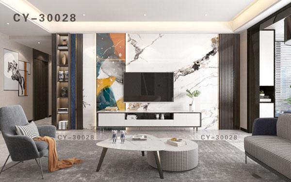 一号墙新品彩雕石材电视背景墙精品后现代YHQ-30028