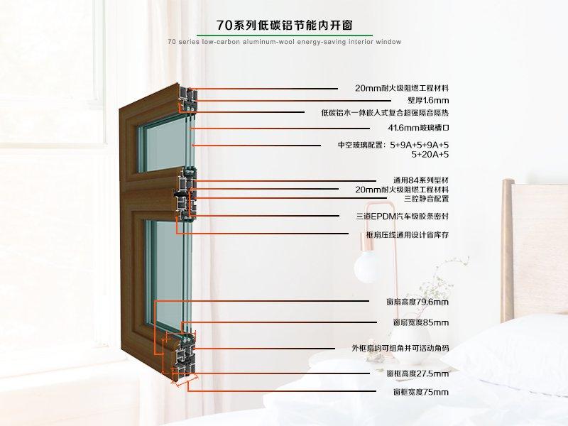 70系列铝木节能内开窗