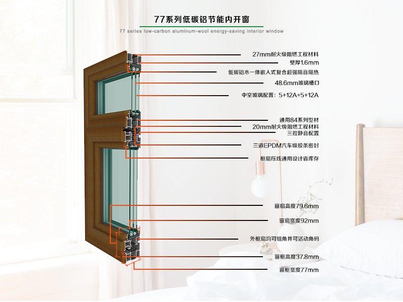 77系列铝木节能内开窗