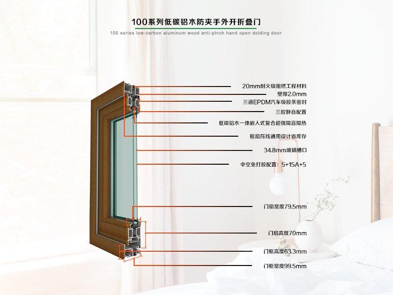 100系列低碳铝木防夹手外开折叠门
