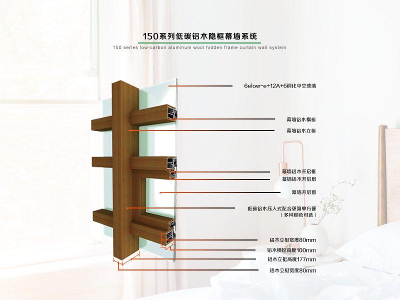 150系列低碳铝木隐框幕墙系统