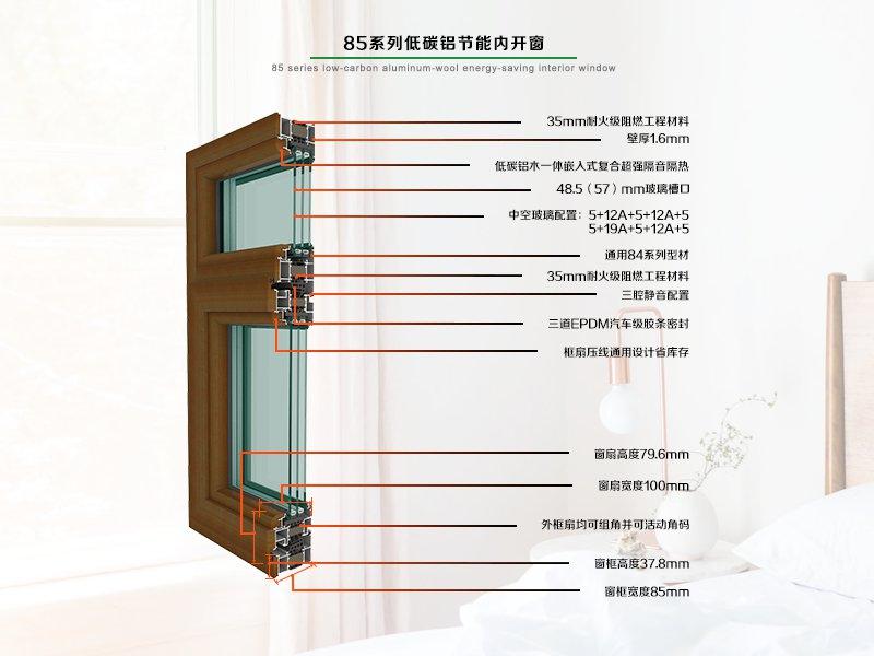 85系列低碳铝木节能内开窗