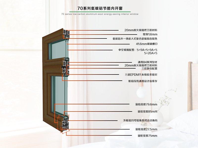 70系列低碳铝木节能内开窗