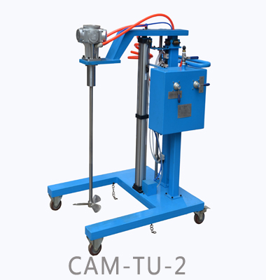 Trolley type pneumatic lifting mixer