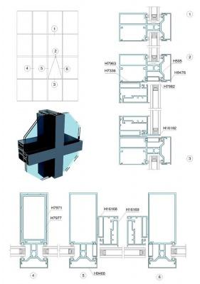 90-180系列明框玻璃幕墙结构图