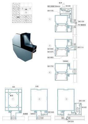 铝单板与玻璃幕墙结合时结构图(100mm)