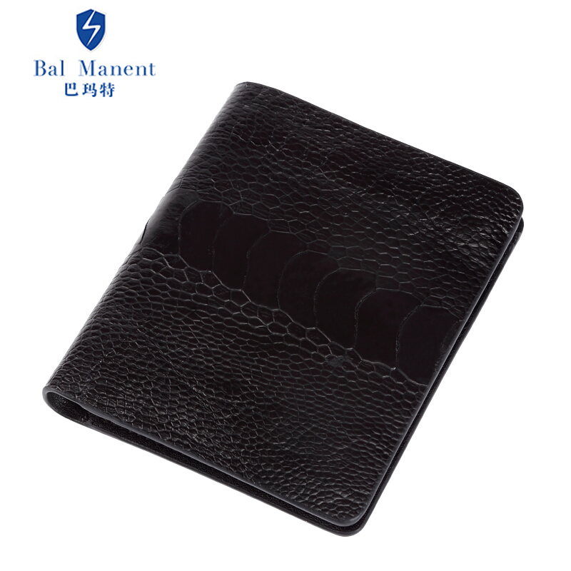 巴玛特 男士短款钱包个性鸵鸟脚***竖款钱夹鸵鸟皮情侣定制皮夹