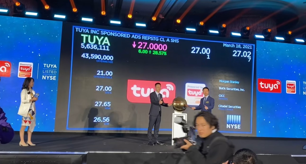 Congratulation tuya IPO in New York in 18th March 2021.