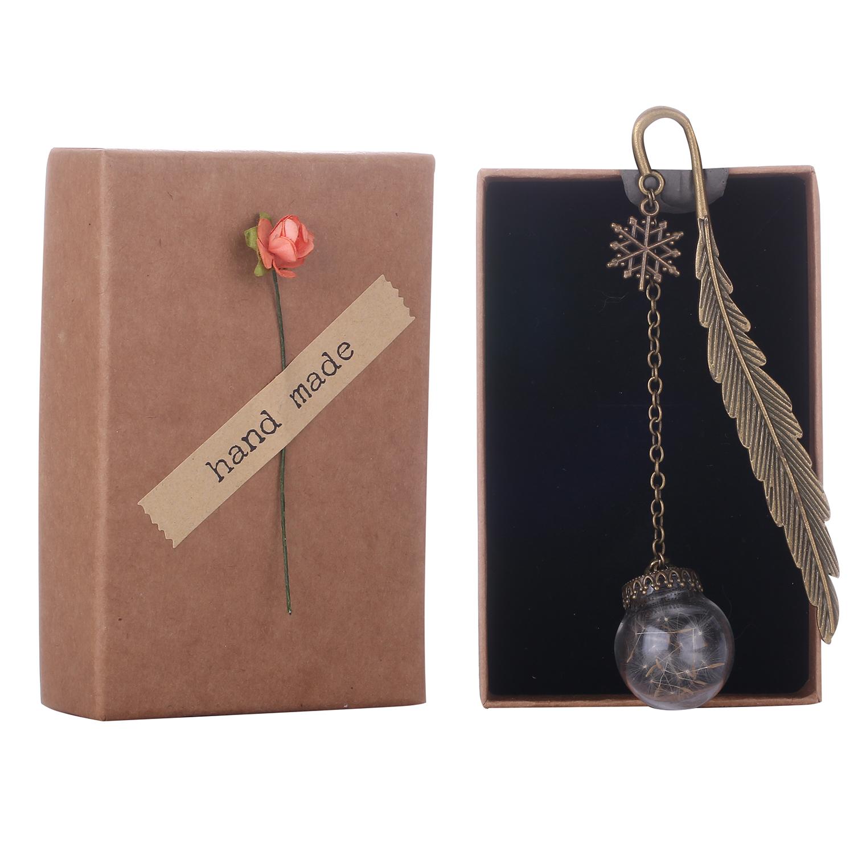 Vintage Bookmark with Preserved Fresh Flower Dandelion