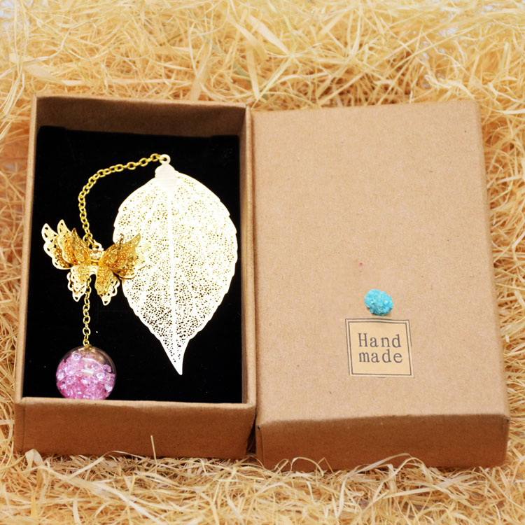 Metal Book Mark Vintage Bookmarks Leaf Bookmark with Pendants (Gold 3D Butterfly Pink Ball)