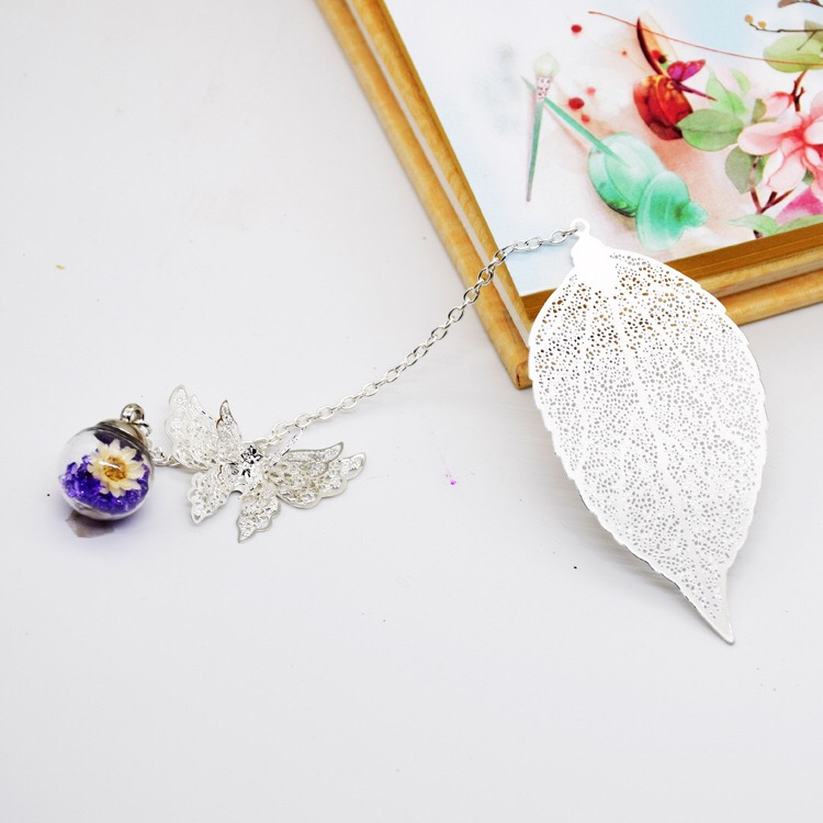Metal Bookmarks Vintage Bookmark Leaf with Pendants for Students (Silver Butterfly Purple Ball)