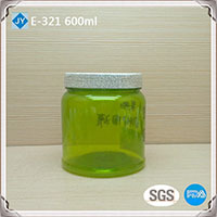 600ml 20oz large colored round pet plastic jar