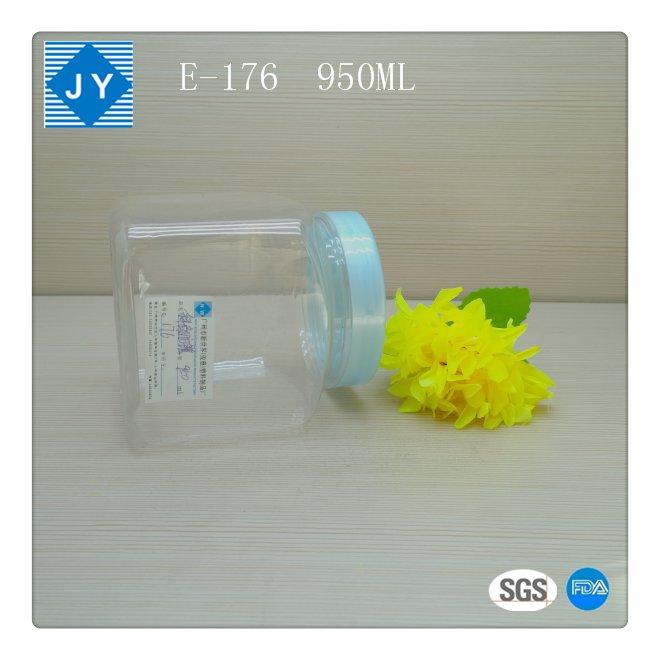 1000ml 32oz large Square pet plastic jar