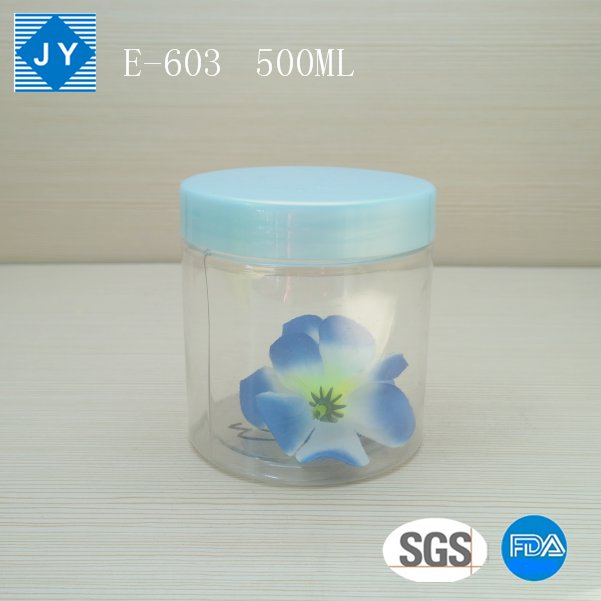 500ml 16oz transparent jar clear jar round cylinder plastic jar
