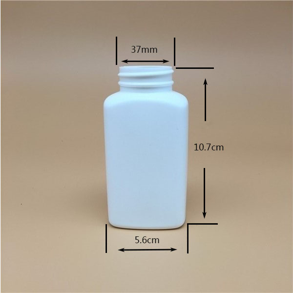 180ml 6oz HDPE square plastic white bottl for psyllium husk powder