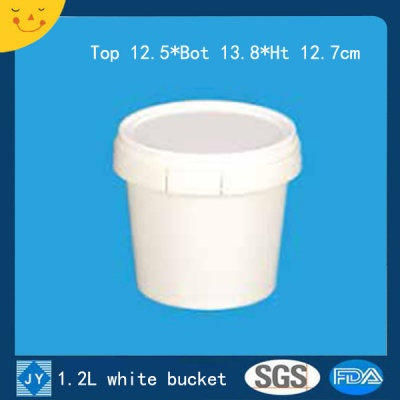 1.2L white plastic bucket
