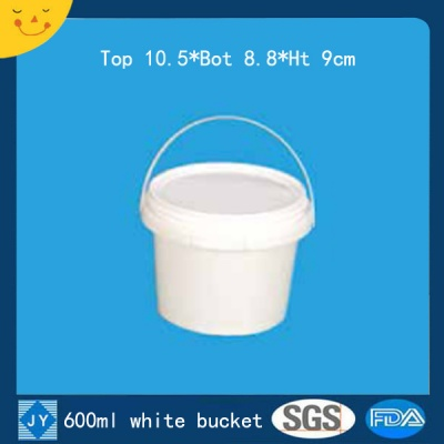 600ml white plastic bucket