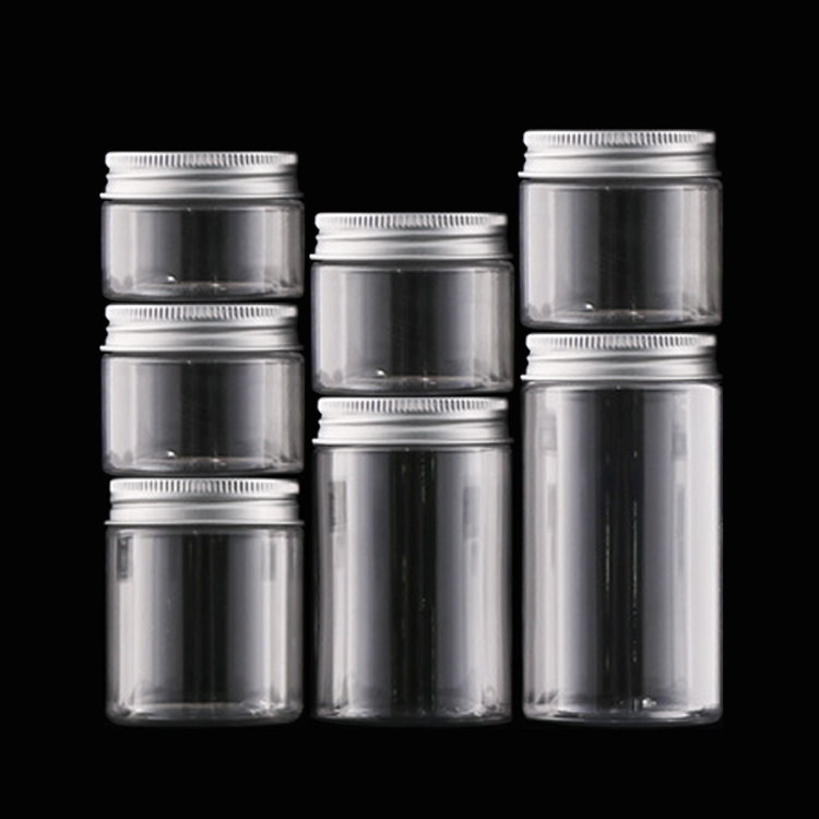 Reusable Clear Plastic Round Jars Wide Mouth Food Storage Containers with Silver Metal Lid