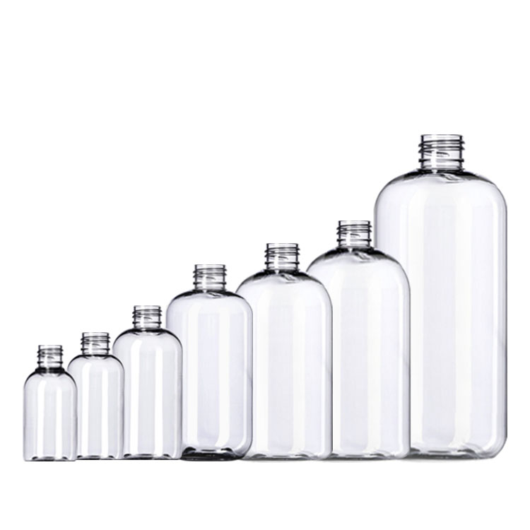 PET White Clear Round Plastic Boston Bottles with Pump Sprayer for Hand Soap Shampoo