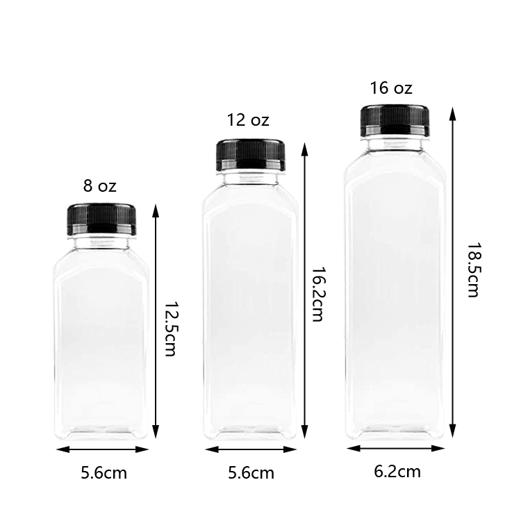 Food Grade BPA Free Empty Clear Square Plastic Juice Milk Bottles with Black Tamper Evident Caps