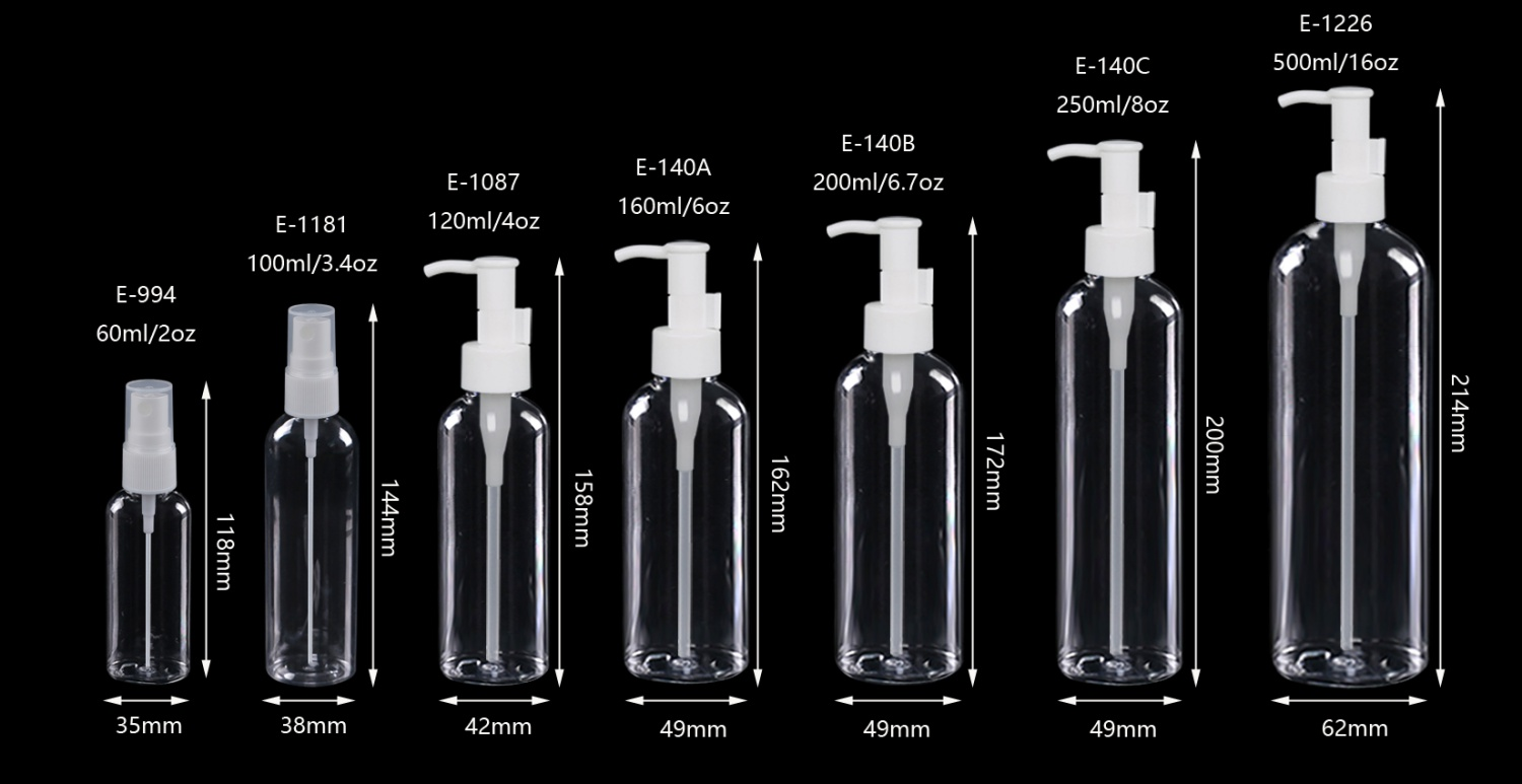 Clear Round PET Plastic Bottle with Pump Sprayer for Face Cleaner