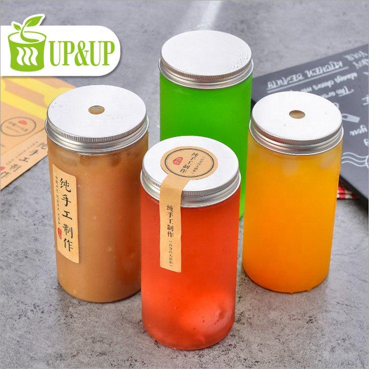 Wholesale food grade 480ml 16oz transparent PET plastic juice bottle with aluminum cap