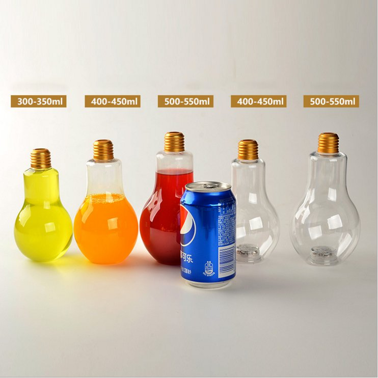Clear Juice Milk Tea Beverage Disposable Light Bulb Shape Cold Drink PET Plastic Bottle