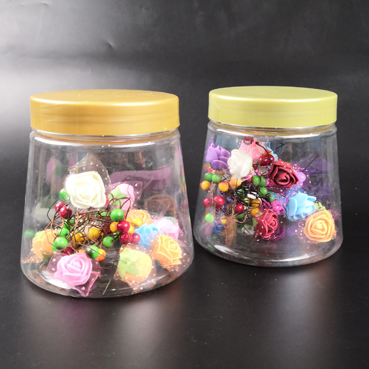 Eco Friendly Clear Conical Plastic Candies Storage Container Empty PET Food Packaging Wide Mouth Jar