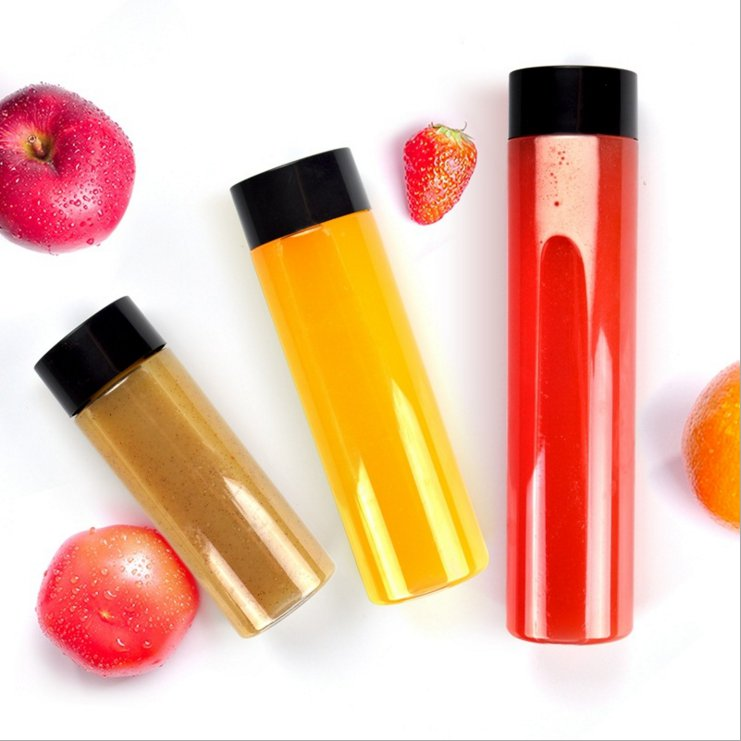 Food grade clear Milk tea juice Beverage round plastic PET clear water Bottle with PP cap