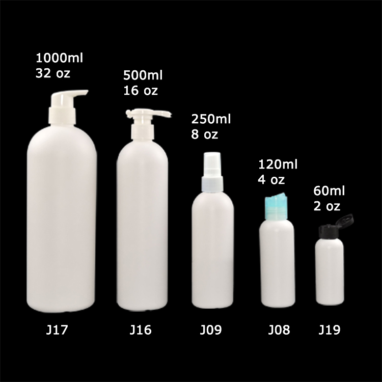 Customized Logo Plastic White PE Round Bottle with Pump for Shampoo Shower Gel Packaging