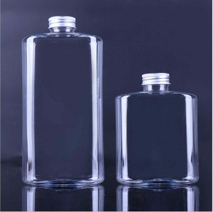 Plastic clear Food Grade flat Beverage PET juice Bottle with Aluminum cap