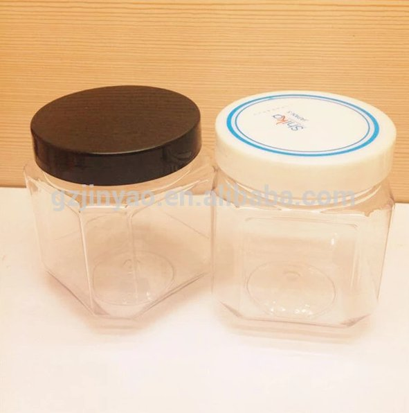 Pet Plastic Square Clear Jars Container for Kitchen Storage