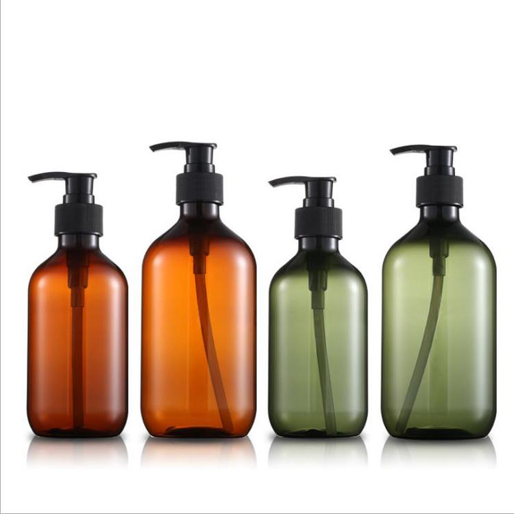 Empty 300ml 500ml Round PET Plastic Pump Bottle for Shower Gel Shampoo Packaging