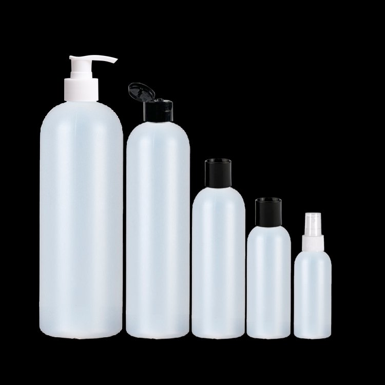 Customized Logo Plastic White PE Round Bottle with Pump for Shampoo Shower Gel Packaging-副本