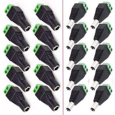 10Pair Male Female 5.5 X 2.1mm DC Power Plug CCTV 12V Power Terminal Connector